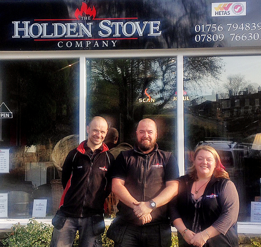 The Holden Stove Company team outside High Corn Mill  Dave Kirkman Simon Holden Emma Holden